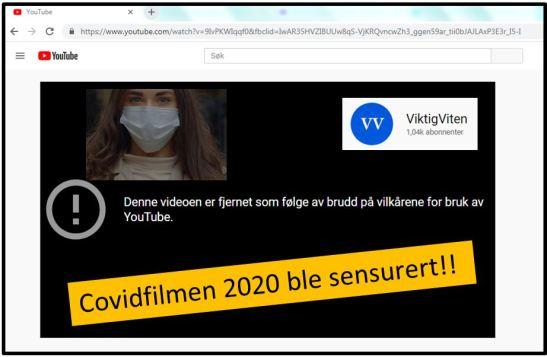 Covidfilmen sensurert på Youtube